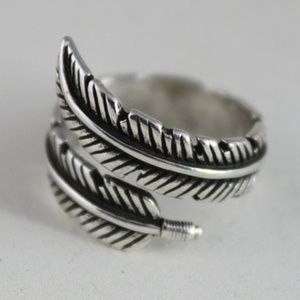 Jewelry - Feather Open Adjustable Stirling Silver Ring